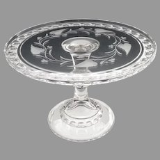 EAPG Ripley glass cake stand etched ivy berry Dakota c. 1885
