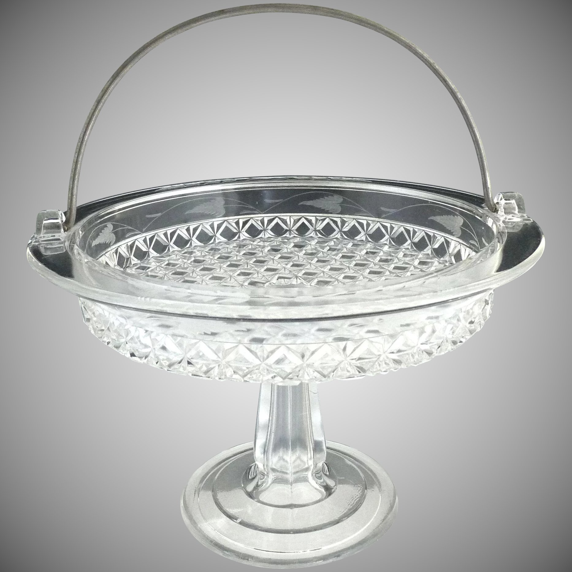 EAPG etched cake stand basket Mascotte aka Dominion Ripley c 1884