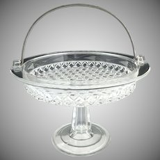 EAPG etched cake stand basket Mascotte aka Dominion Ripley c. 1884