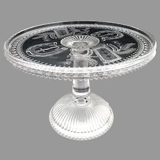 Antique glass cake stand Prayer Rug Good Luck Adams c. 1881