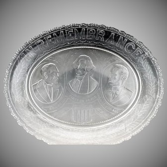 Presidential antique glass platter In Remembrance Garfield Washington Lincoln c.1881