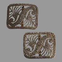 French Antique shoe buckles cut steel bronze