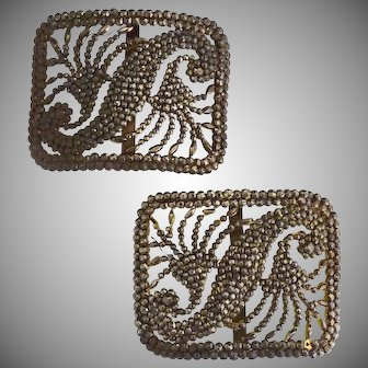 Antique cut steel shoe buckles French bronze