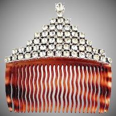 Vintage French hair comb rhinestone crown wedding comb