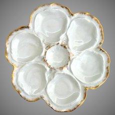 Limoges Oyster Plate blanc de chine gold trim L & Co. Lafarge & Co.