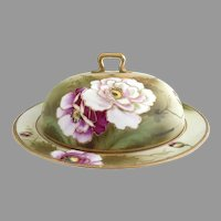 Antique Nippon pancake dish hand painted poppies gold Japan