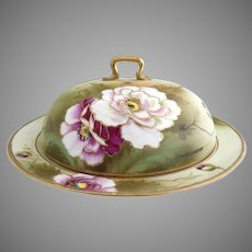 Antique Nippon porcelain pancake dish hand painted poppies gold