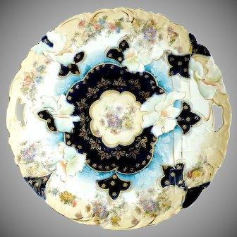 RS Prussia Cobalt cake plate floral decoration c. 1906