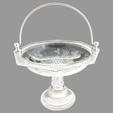 EAPG glass fruit basket silver plate handle Ripley c. 1880s