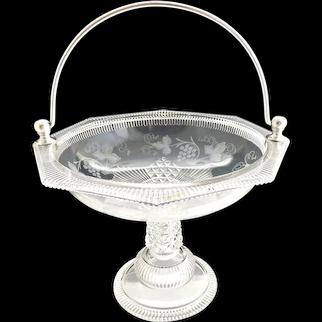 EAPG glass fruit basket silver plate handle Ripley c. 1880s