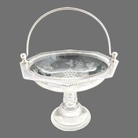 EAPG Ripley glass fruit basket silver plate handle c. 1880s