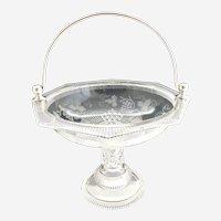 EAPG glass fruit cake basket silver plate handle Ripley c. 1880s