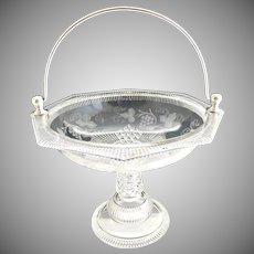 EAPG Ripley glass fruit basket silver plate handle c. 1880s
