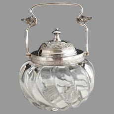 Vintage glass jam jar silver plate collar lid bail handle