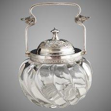 Vintage glass jam jar silver plate collar lid bail handle