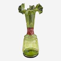 Victorian elegant green glass vase enameled flowers c. 1890