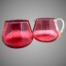 Vintage Pilgrim cranberry glass sugar creamer