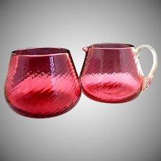 Vintage Pilgrim cranberry glass sugar creamer