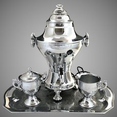 Vintage chrome electric coffee samovar urn set c. 1940s