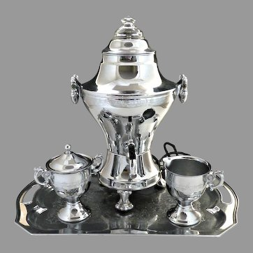Vintage chrome electric coffee samovar urn set c. 1940s