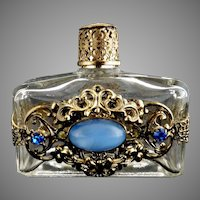 Vintage glass perfume bottle filigree jewels