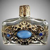Vintage glass perfume bottle filigree jewels
