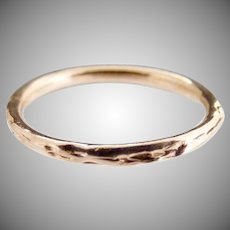 Vintage artisan Rose gold wedding band 14K