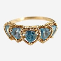 Vintage 14K gold aquamarine ring heart gemstones