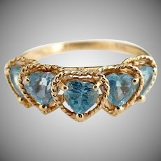 Vintage womans 14K gold aquamarine ring heart gemstones