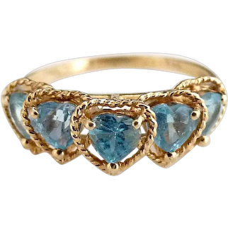 Vintage 14K gold aquamarine ring heart gemstones