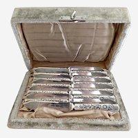 Antique fish knives embossed handles original velvet box c. 1880s