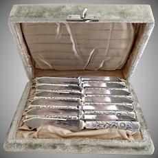 Antique silver plate fish knives velvet box c. 1880s