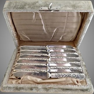 Antique silver plate fish knives velvet box c. 1880s