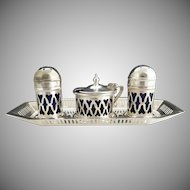 English silver plate condiment set cobalt glass inserts
