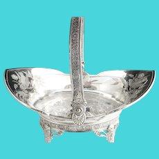 Antique silver plate fruit basket embossed birds Tufts c. 1875