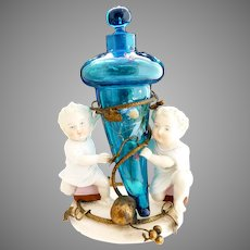 Antique German porcelain bronze figural perfume stand