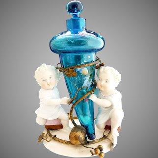 Antique German porcelain bronze figural perfume stand
