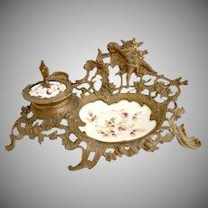Art Nouveau gilt brass porcelain inkwell hand painted