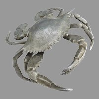 Figural crab antique inkwell engraved Buffalo '99