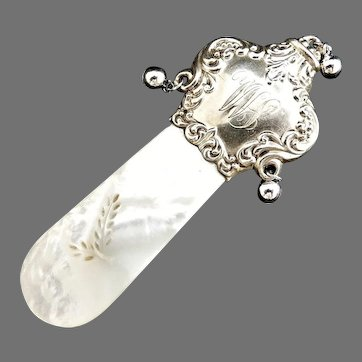 Victorian baby rattle teether sterling Mother of Pearl