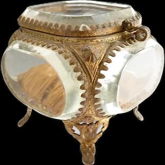 Victorian beveled glass jewelry casket