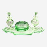 Green Depression glass dresser set perfume bottles tray