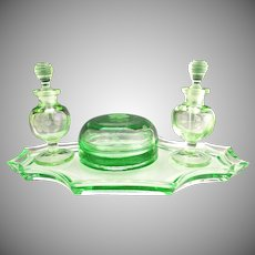 Green Depression glass dresser set perfume bottles tray