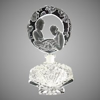 Art Deco Czech cut glass perfume figural stopper 1920s