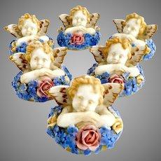 Vintage German porcelain place card holder set Cherubs