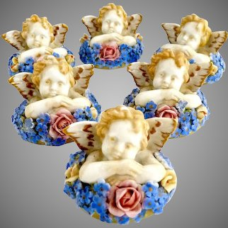 Vintage German porcelain place card holder set Cherubs