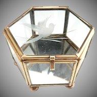 Vintage glass jewelry casket engraved bird lid