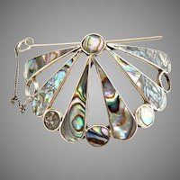 Mexican silver abalone hair tie clip