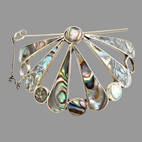 Taxco Mexican sterling silver abalone hair tie clip .925