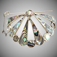 Mexican silver hair tie abalone